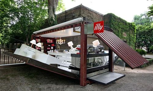 Mostly involving clothing stores, here's a design concept from Italian coffee brand, illy, for a Pop-Up Espresso Bar. It's housed in a shipping container, and literally fold out to create an instant Espresso Bar. Intriguing!