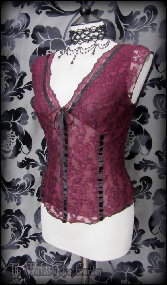 Romantic Gothic Burgundy Lace Black Satin Corset Style Top 12 14 Vampire Maiden | THE WILTED ROSE GARDEN