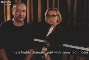 Dessay, on a TV interview, with her husband Laurent Naouri, about the casting of Giulietta as a mezzo