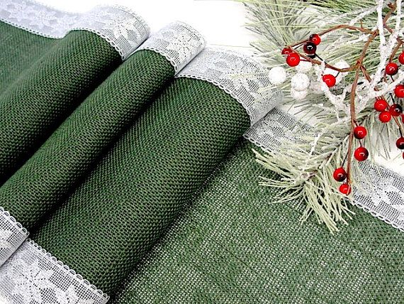 Christmas table runner Green Evergreen burlap by HotCocoaDesign, $25.00