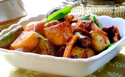 Roast Vegetables With Dates and Pecan Nuts