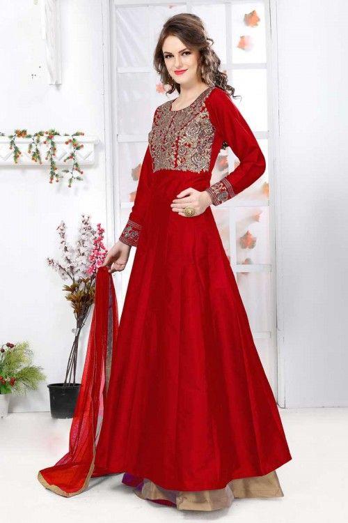 Rouge soie et taffetas Anarkali Churidar costume avec Dupatta en ligne   http://www.andaazfashion.fr/salwar-kameez/anarkali-suits