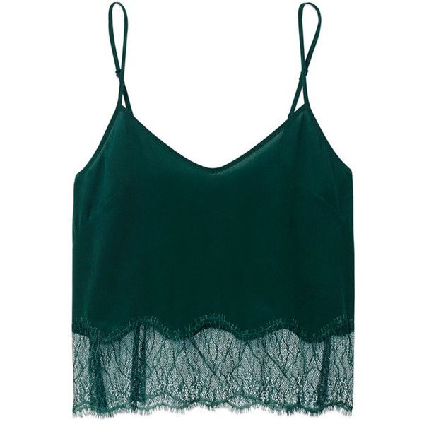 Wilfred CHIMÈRE CAMISOLE Aritzia (813.480 IDR) ❤ liked on Polyvore featuring tops, green, green cami top, silk camisole, green top, sexy tops and green silk top