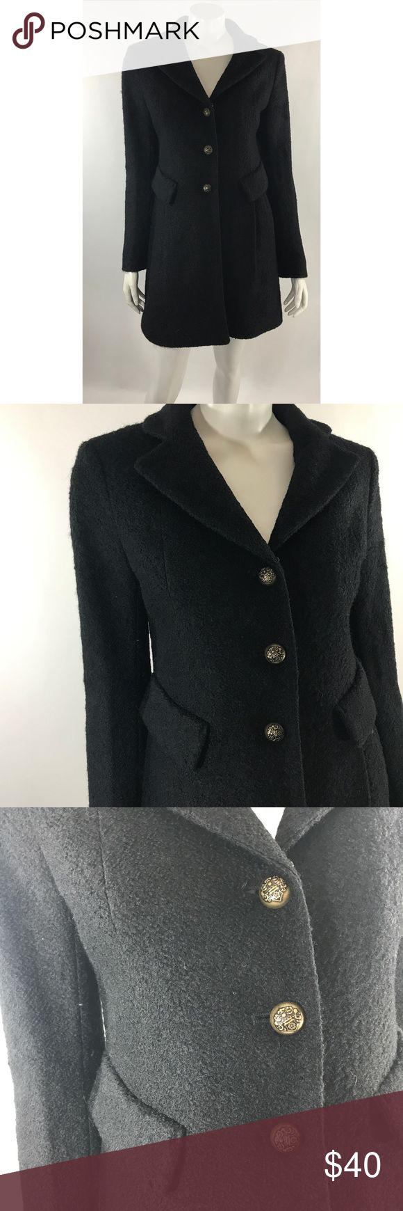 Laundry Shelli Segal Dress Coat Size 4 Solid Black Laundry Shelli Segal Womens Dress Coat Size 4 Solid Black Wool Button. Measurements: (in inches) Underarm to underarm: 18 Length: 34 Sleeve: 25 Good, gently used condition Laundry By Shelli Segal Jackets & Coats