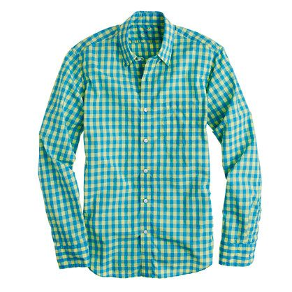 J crew guys 39 slim secret wash shirt in bright gingham for Mens yellow gingham shirt