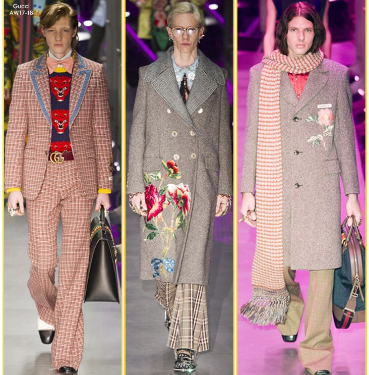 Dress like a modern day Great Gatsby, take cue from Gucci's AW17-18 by teaming jacquard patterns with traditional houndstooth and embellished coats SHOP GUCCI's ARRIVALS at STILORAMA.COM