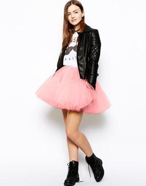 Image 1 ofASOS Skater Skirt In Mesh Skirt