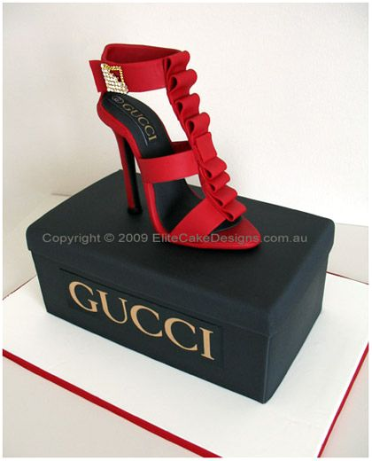Gucci Stiletto Novelty Birthday Cake  The stiletto and the box are designed in real dimensions! Designer Cakes by EliteCakeDesigns