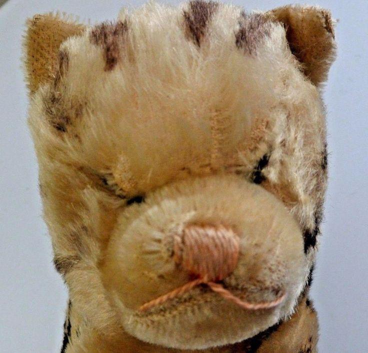 Steiff Floppy Cat Bell Paw Mohair 70's Animal Stuffed Tabby Tiger Stripe Pink  #Steiff