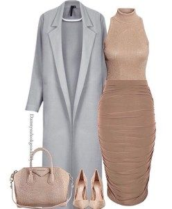 Cold weather wedding guest outfit ideas and winter and fall wedding guest outfit ideas. Grey Long coat and nude pencil skirt and Givenchy bag.
