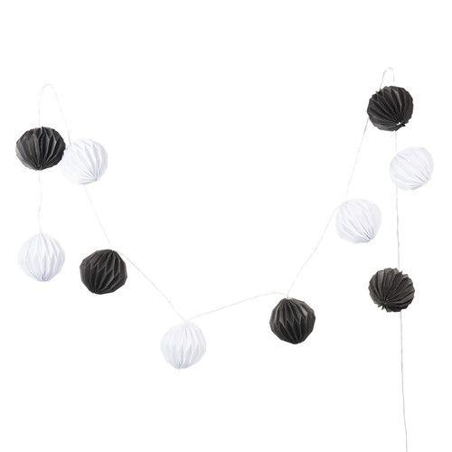 Guirlande lumineuse en papier blanche/noire L 210 cm PHOENIX