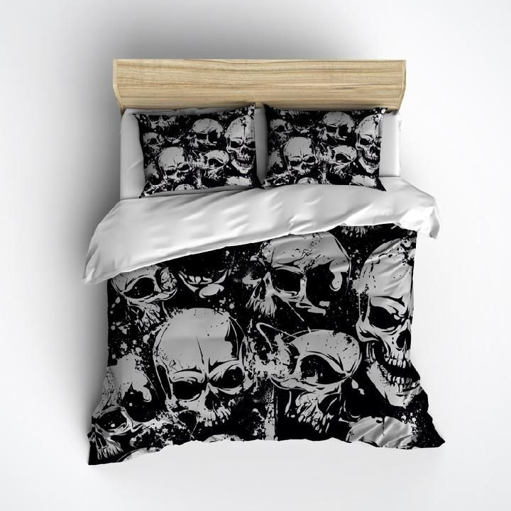 Grunge Black And Grey Skull Bedding Collection In 2021 Skull Bedding Duvet Bedding Bedding Sets