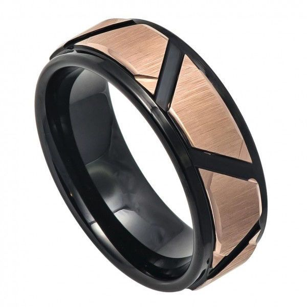 Men's Two Tone Rose Gold and Black Tungsten Carbide Wedding Band with Brushed