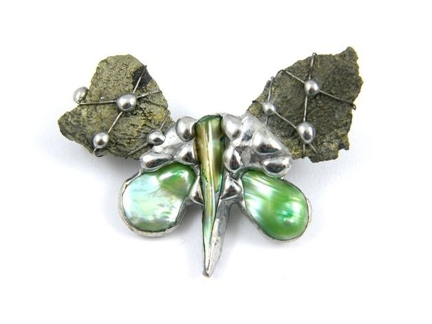 Badges & Brooches – Brooch: Small butterfly with pyrite – a unique product by Patrycja-Baran on DaWanda