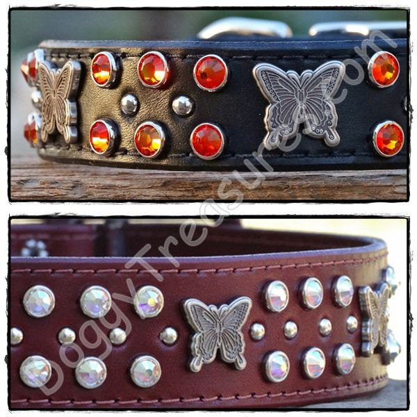 Monarch Custom Leather Dog Collars for Large Dogs - 1 inch wide (top) & 1.5 inch wide (bottom)