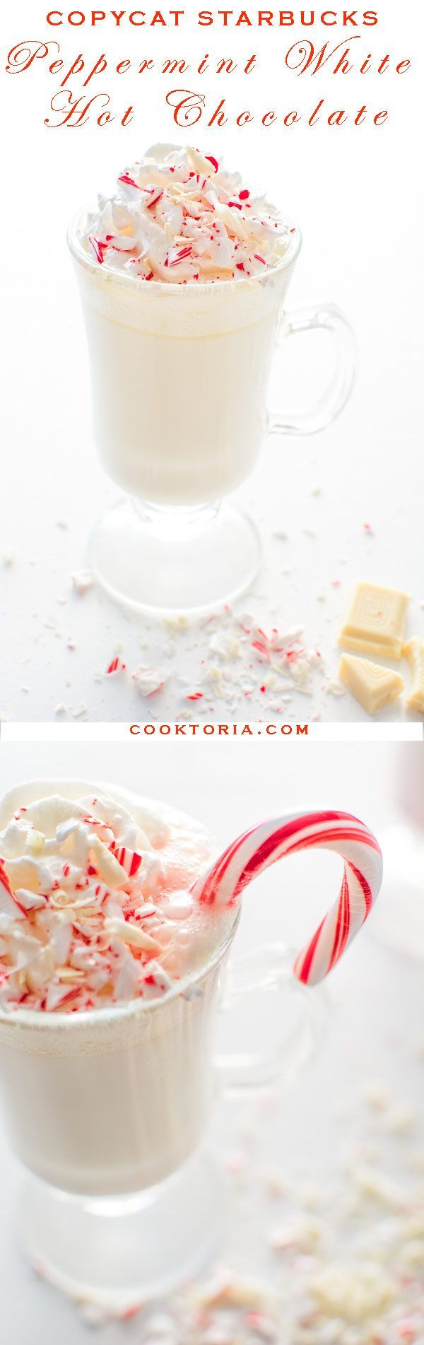Copycat Starbucks White Peppermint Hot Chocolate. Creamy and sweet, it's just what you are craving this season! ❤ http://COOKTORIA.COM