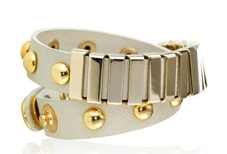 A cream leather wrap cuff embellished with studs, perfection. (as seen in @O, The Oprah Magazine)
