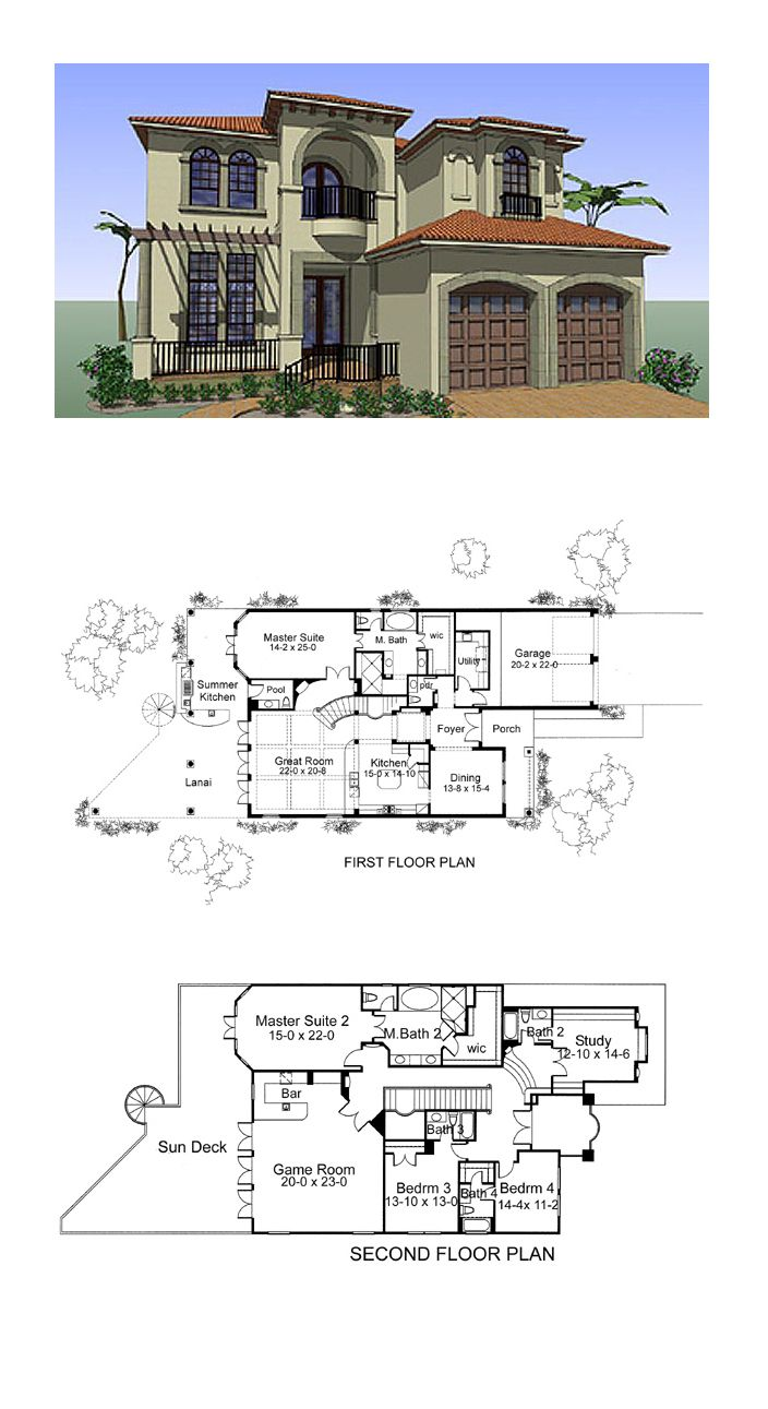 Coastal House Plans 75131 | Total Living Area: 4802 sq. ft., 4 bedrooms and 5.2 bathrooms. #coastalhome