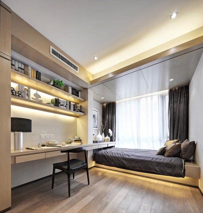 Apartments: Small Bedroom Decor Wooden Floor Dark Grey Bedsheet Large Glass  Windows Dark Gray Curved Part 56
