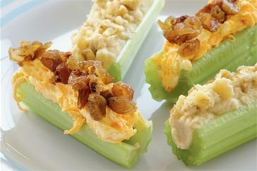 Stuffed Celery Sticks - some of these are not the healthiest of ideas, but it's a better splurge than other options!