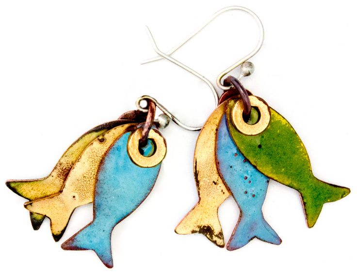 Pisces - Catch of the Day Enameled Fish Earrings - Green & Blue by markasky on Etsy