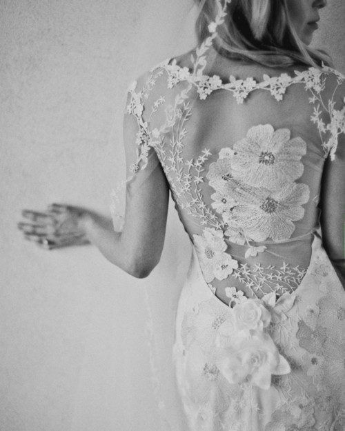 floral lace back wedding dress by Claire Pettibone .. Need this