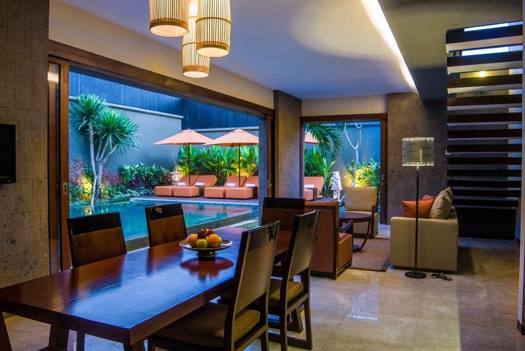 Poolside living dining room. Design by Me/_Dodi Nug
