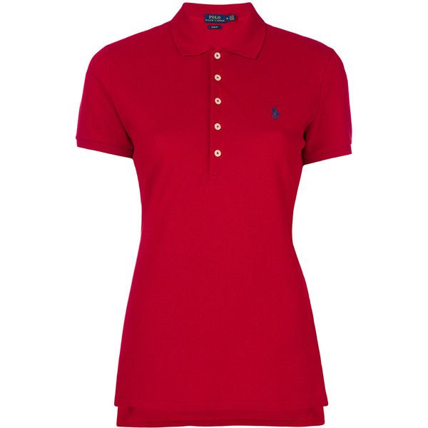 Polo Ralph Lauren embroidered logo polo shirt ($112) ❤ liked on Polyvore featuring tops, red, ribbed short sleeve top, ribbed top, slimming tops, red embroidered top and short sleeve tops