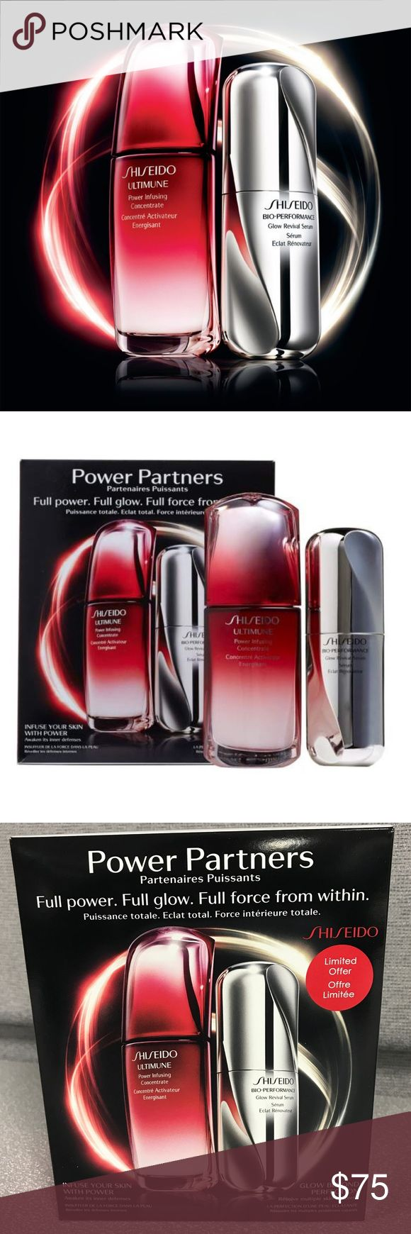 NEW Shiseido Power Partners The Shiseido Power Partners duo gives you the ultimate glowing complexion that becomes more dynamic over time. Duo includes: Full-size Ultimune Power Infusing Concentrate: a concentrate that helps boost skin's multi-defensive powers while helping strengthen its resistance to day-to-day damage & signs of aging. Full-size Bio-Performance Glow Revival Serum: a multi-benefit formula that focuses on the role of the capillaries for skin that appears even in tone…