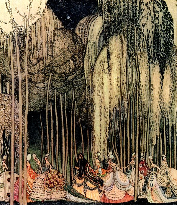 Twelve Dancing Princesses, Kay Nielsen art print (This doesn't exactly go with her room, but i think this print is so pretty!)
