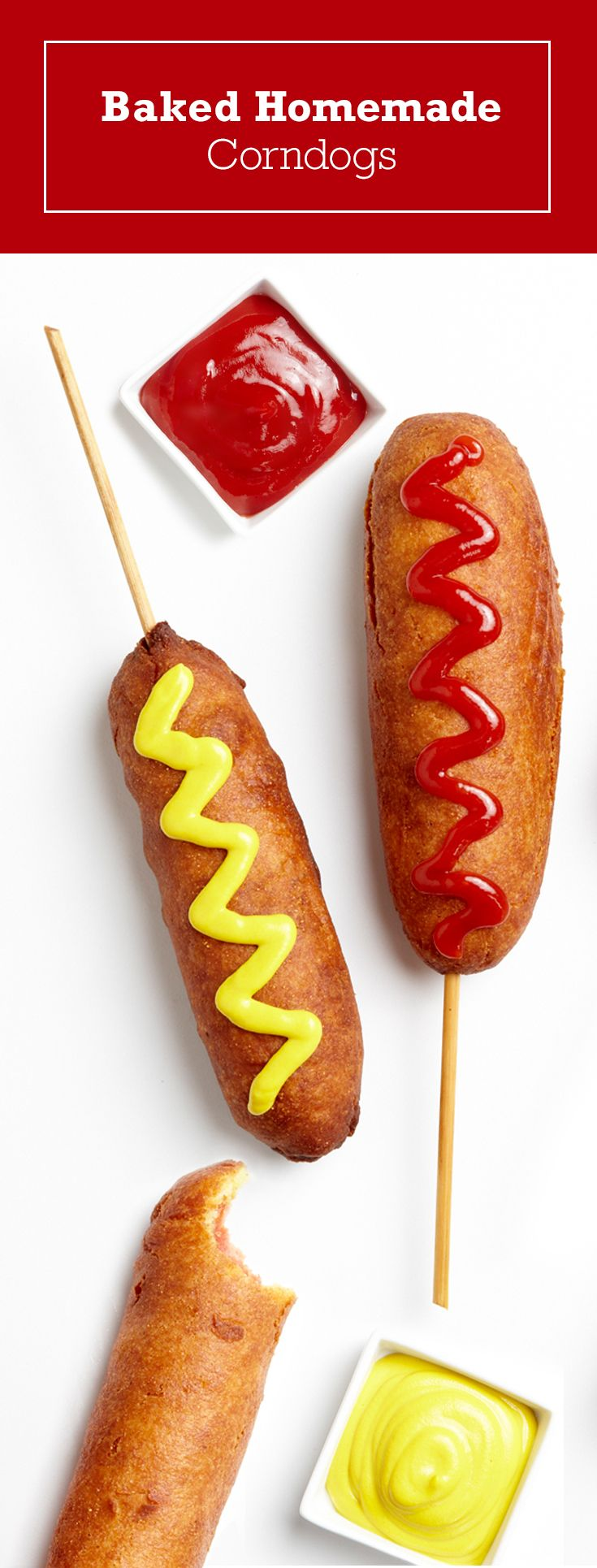 Try our healthy twist on a carnival classic with baked corn dogs! Get your state fair fix at home with our recipe for homemade corn dogs.