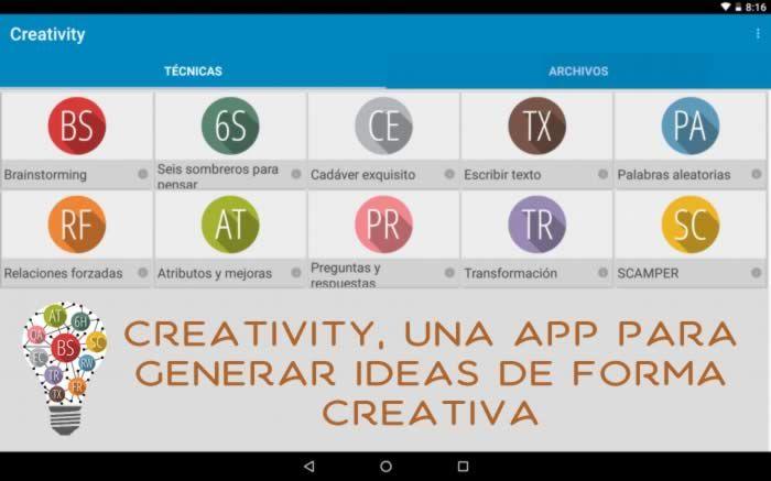 Creativity, es una aplicación para dispositivos con Android que te proporciona 10 herramientas y técnicas para generar nuevas ideas #apps