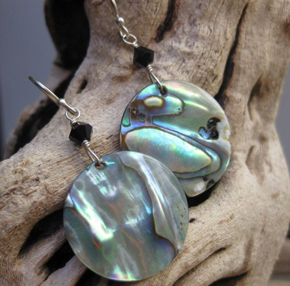 Shimmering paua shell and sterling silver earrings - handmade by Bethany Rose Designs. See more handcrafted jewelry at www.BethanyRoseDesigns.etsy.com