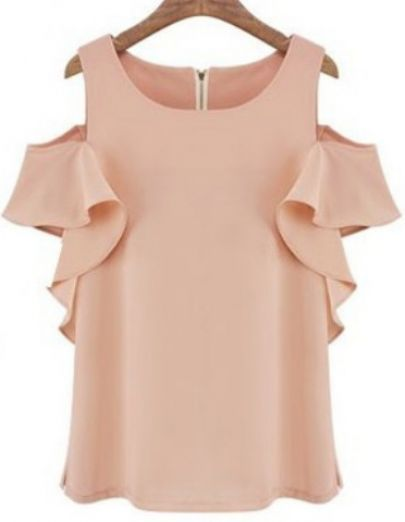 Pink Off the Shoulder Ruffle Chiffon Blouse