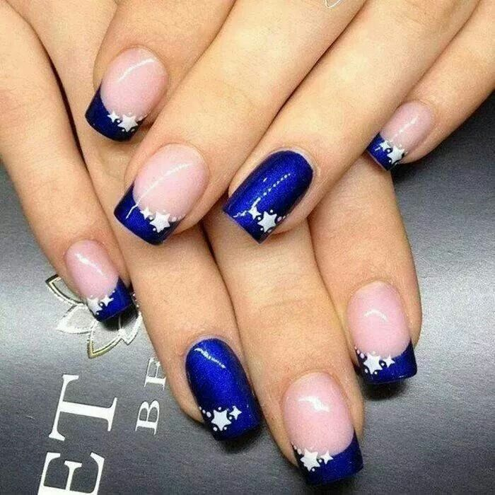 Blue French with stars nail design manicure
