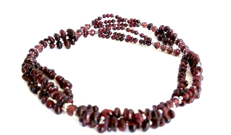 GARNET Stone MARSALA Color. NECKLACE is Handmade. Multi Strend Necklace Fantasy Design. Handmade Necklace. Bohemian Style. Burlesque Style. by GECHELINE on Etsy