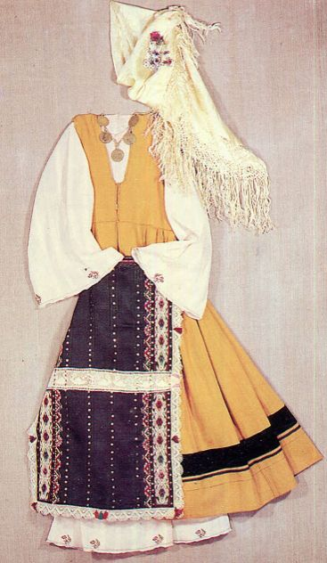 Later this garment was made with factory woven wool with a finer weave. The bodice became longer, reaching the waist. Sometimes it was left plain, with just some tucks and ribbon on the lower skirt. Dobrudja