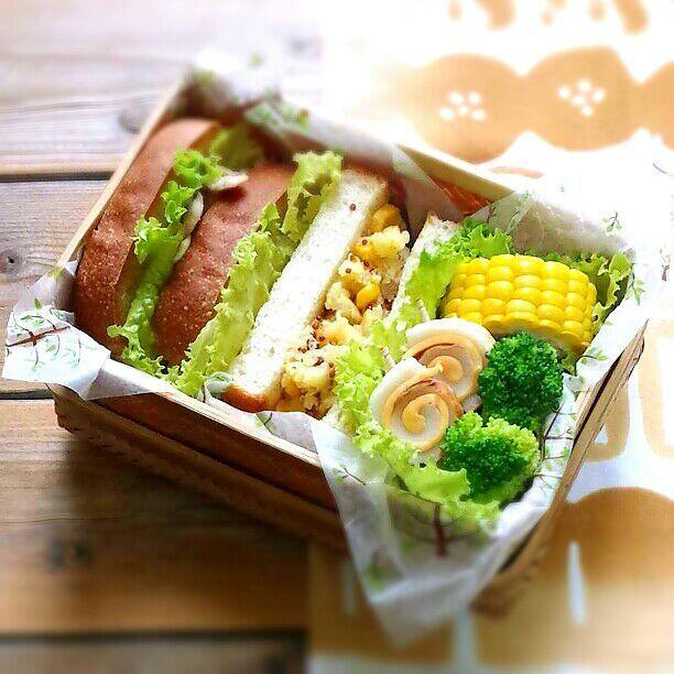 昨日のパンでサンドイッチ♪  鯛そぼろ  コーン入りマッシュドポテト とうもろこし ブロッコリー 竹輪チーズ - 45件のもぐもぐ - 旦那さんの朝ごパン弁当♪ by kyuja