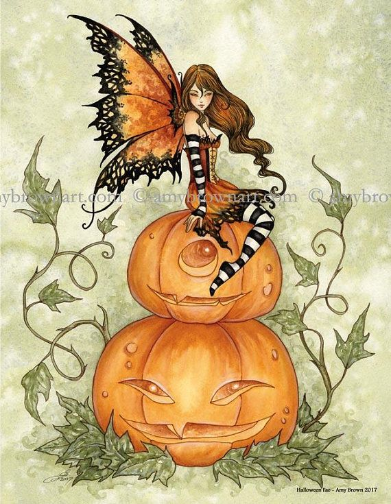 Halloween Fae autumn fall fairy 8.5X11 PRINT by Amy Brown