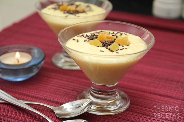 Romántica y delicada mousse de naranja con chips de chocolate. Ideal para sorprender el día de San Valentin o para terminar una comida con un buen postre.