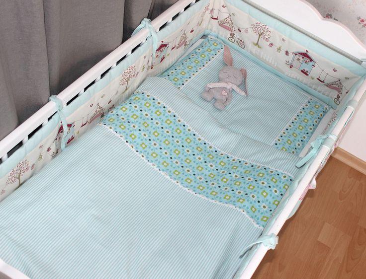 Baby Bettwäsche in helltürkis/weiß gestreift von made_by_JaLy auf DaWanda.com