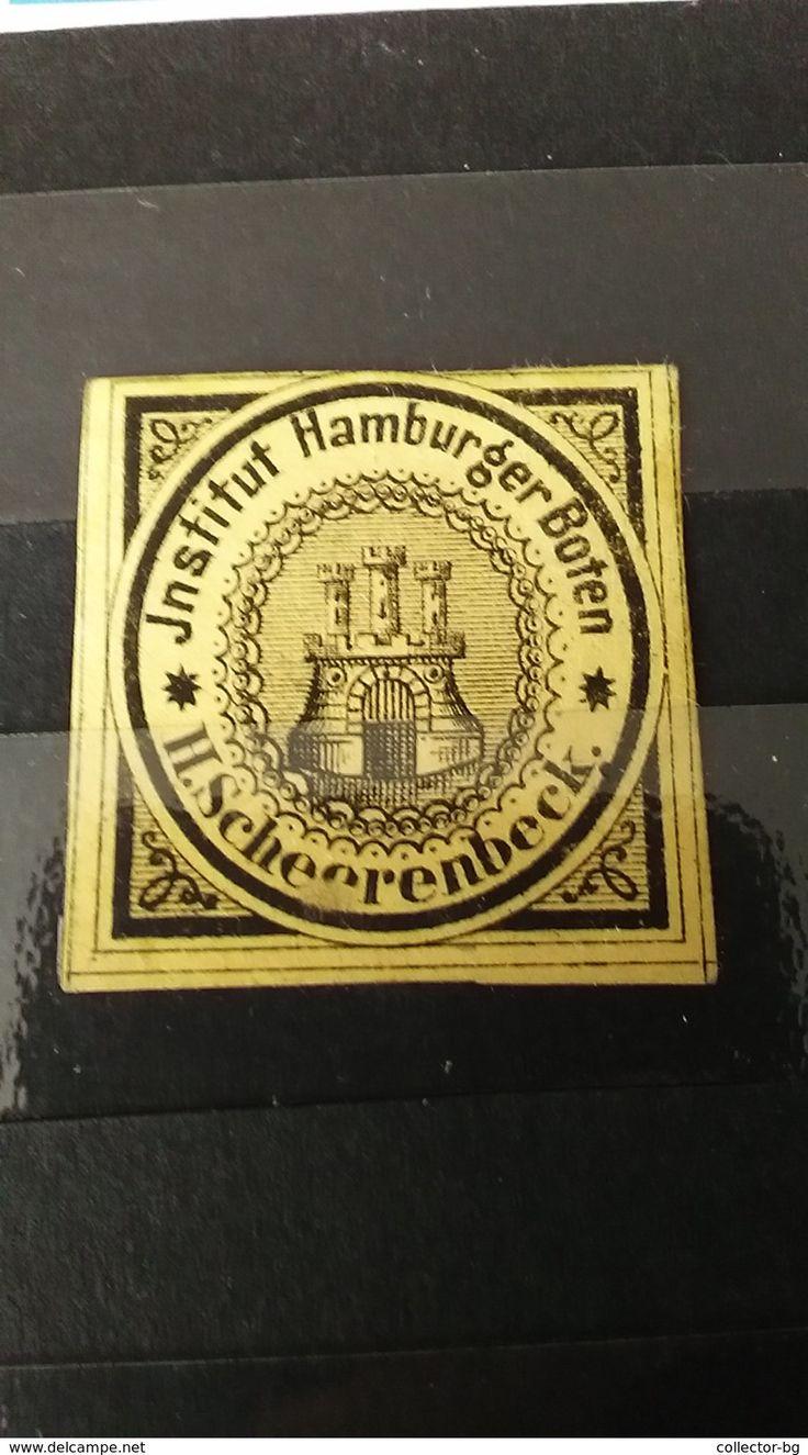 RARE 1860 GERMANY STATE HAMBURG GER  BOTEN INSTITUT H.SCHEERENBECK MINT STAMP TIMBRE - Hamburg