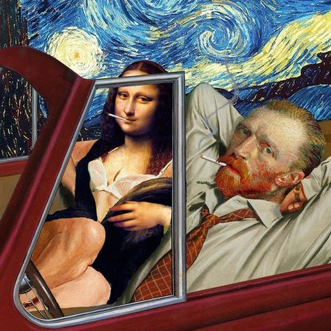 Barry Kite collage humor pintura clasica