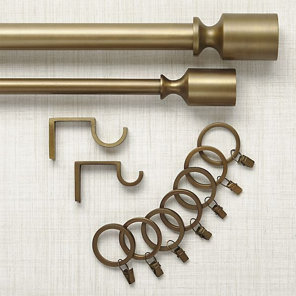 Barnes Antiqued Brass Curtain Hardware | Crate and Barrel