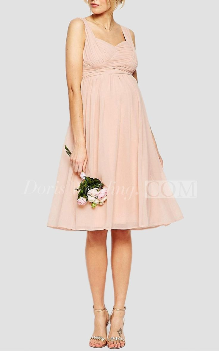 Elegant Knee Length Chiffon Bridesmaid Dress With Empire Waist #short #pink #DorisWedding.com