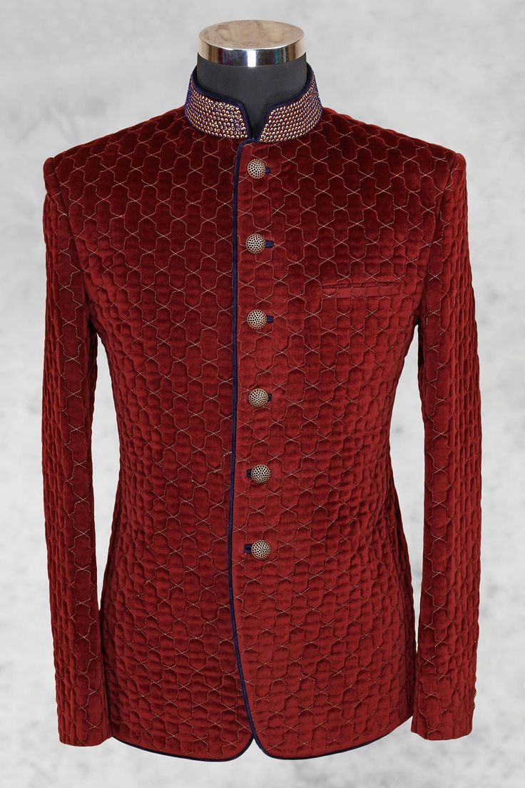 #Maroon graceful #velvet suit with bandhgala collar-ST488