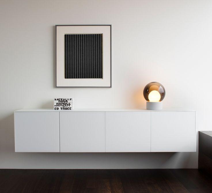 Lampe à poser, Boule Small, verre fumé, gris, H35,5cm - PULPO