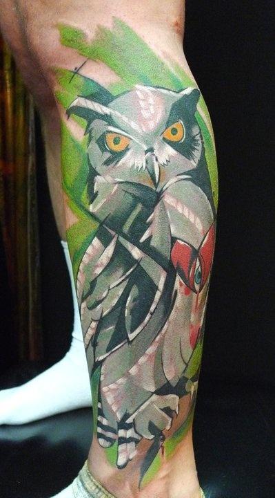 Owl Tattoos On Leg