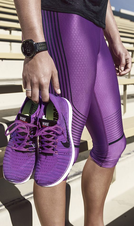 My favorite color. I have yet to find any workout pants and shoes that I really like that are purple.
