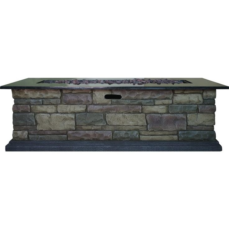 Shop bond canyon ridge 70 000 btu rectangular liquid for Rectangular stone fire pit